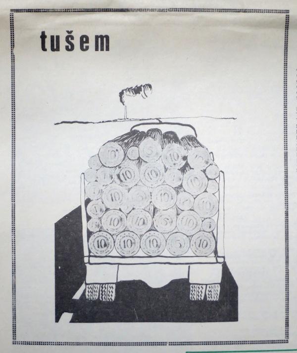 """Karikaturni komentar Miljenka Brezaka, objavljen u rubrici """"tušem"""" u tvorničkom listu DIP NOVOSELEC, broj 5 za lipanj 1979., str. 8"""