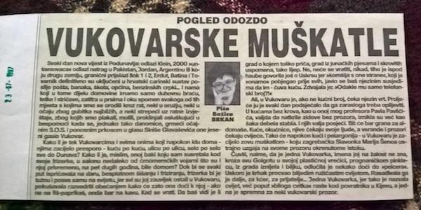 Moja kolumna Pogled odozdo (Vukovarska muškatla) iz Večernjeg lista, 1997.