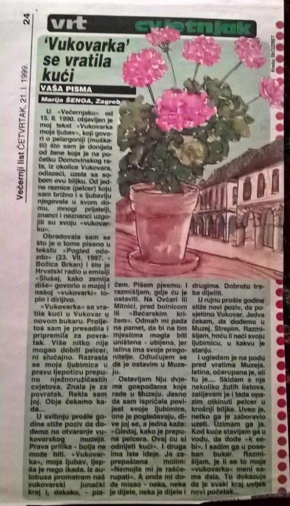 Članak iz Večernjakova Vrta, 1999.
