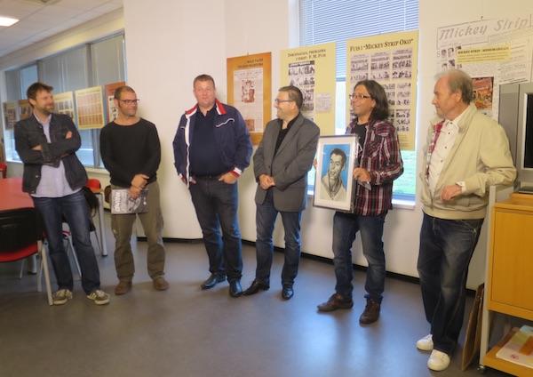 S otvorenja ovogodišnje izložbe stripa Veljka Krulčića: drugi slijeva / Fotografija Miljenko Breza