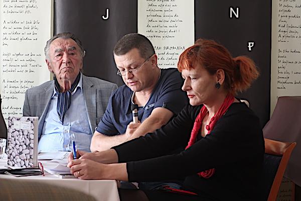 Davor Šalat o Biletićev knjizi, sa Milanom Rakovcem i Ladom Žigo Španić / Fotografija Božica Brkan
