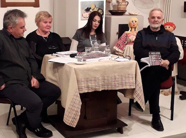 S predstavljanja Zbornika slijeva nadesno: Antonio Gadža, Slavica Moslavac, Jasmina UrodaKutlić i Mladen Mitar (Fotografija Muzej Moslavine)