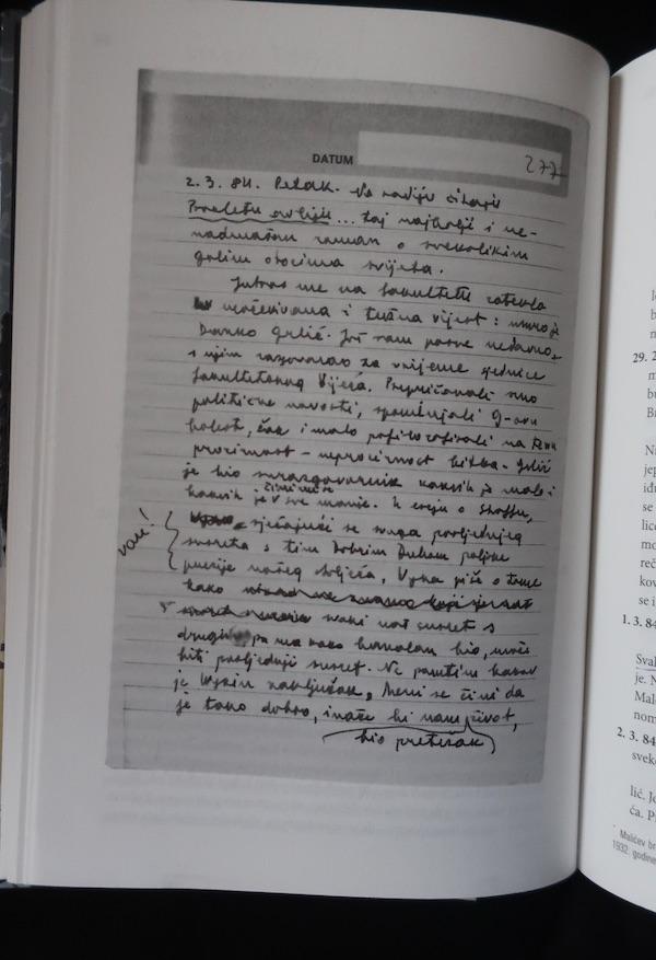 Iz knjige: Malićev dnevnik u rukopisu, samo kao ilustracija