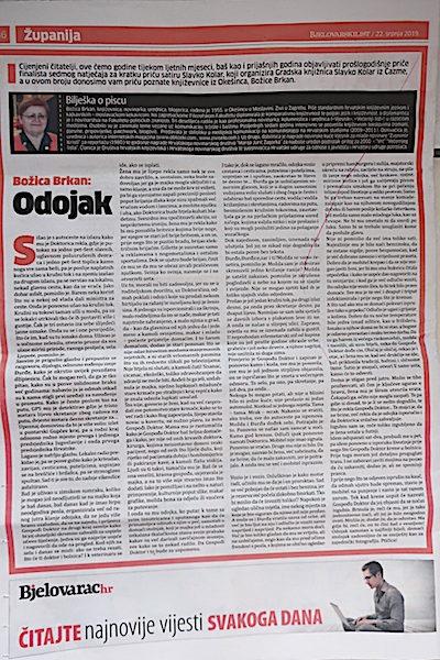 Bjelovarski list, 22. srpnja 2019. - Odojak Božice Brkan